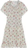 Rebecca Taylor Shirred Floral-print Hammered Silk-blend Mini Dress