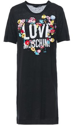 Love Moschino Floral-appliqued Embroidered Intarsia-knit Mini Dress