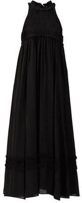 Ssone - Valley Ruffled Check-jacquard Midi Dress - Black