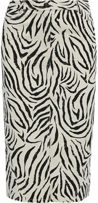 ATM Anthony Thomas Melillo Zebra-print Stretch-cotton Canvas Skirt