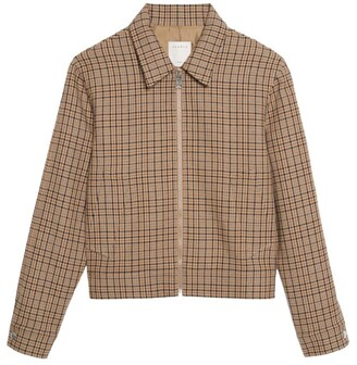 Sandro Paris Check Zip-Up Jacket