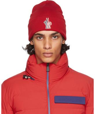 MONCLER GRENOBLE Red Wool Logo Beanie