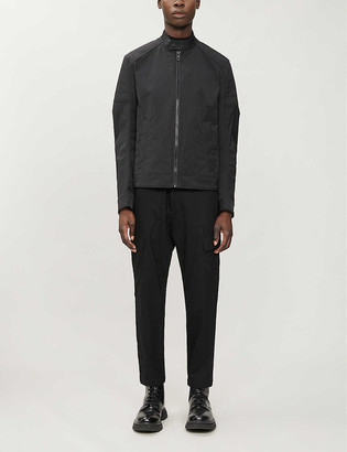 BOSS Quilted slim-fit crewneck woven coat