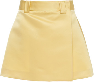 Prada Satin Wrap-Effect Mini Skirt