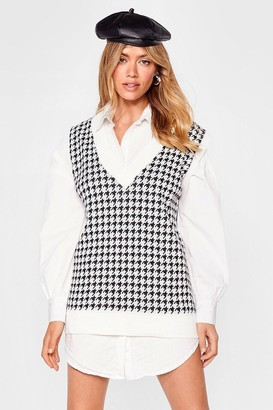 Nasty Gal Womens V Neck Houndstooth Knitted Tank Top - Oatmeal