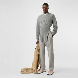 Burberry Logo Wool Jacquard Tailored Trousers