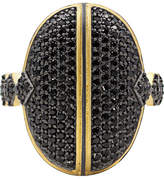 Freida Rothman Harlequin Edge 14K & Rhodium Plated Cz Dome Bar Ring