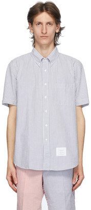Thom Browne Blue Seersucker Short Sleeve Shirt