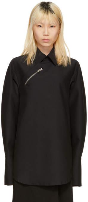 Yang Li Black Oversized Zip Shirt