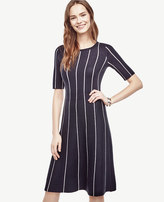 Ann Taylor Pinstripe Flare Sweater Dress