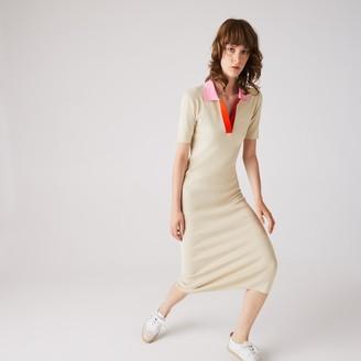 Lacoste Women's Polo Collar Two-Tone Cotton Knit Long Sweater Dress