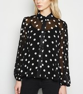 New Look Spot Puff Sleeve Sheer Chiffon Shirt