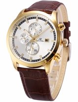 K&S KS Men's KS196 Analog Brown Leather Band Day Date Month Display Automatic Mechanical Watch