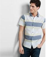 Express contrast collar striped short sleeve shirt