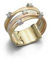 Marco Bicego Goa Diamond, 18K White, Rose & Yellow Gold Five-Row Ring