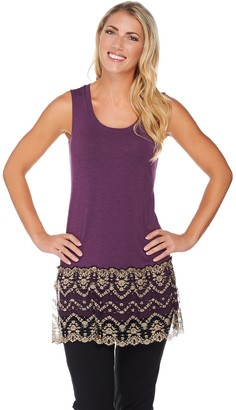 Logo by Lori Goldstein Knit Tank with Two-Toned Lace Trim