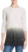 Aqua Cashmere Dip Dye Fringe Trim Cashmere Sweater