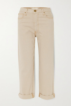 The Great The Easy Roll Cropped High-rise Straight-leg Jeans - Cream