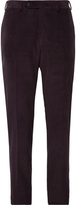 Canali Black Kei Slim-Fit Cotton-Blend Corduroy Suit Trousers - Men - Purple