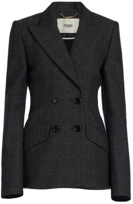 Fendi Herringbone Double Breasted Wool Blazer