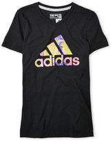 adidas Girls 7-16) Black Psychedelic Logo Tee