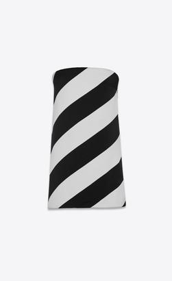 Saint Laurent Dresses Strapless Silk Tube Dress With Diagonal Stripes Gray Whithe 10