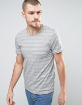 Selected T-shirt with Raw Hem in Marl Stripe