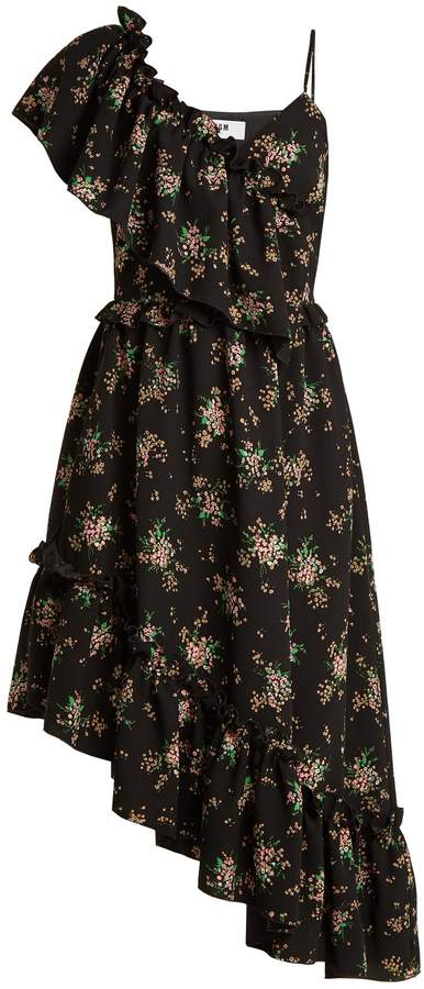 MSGM Floral-print asymmetric ruffled dress