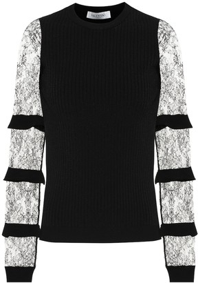 Valentino lace-trimmed crepe sweater