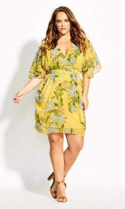 City Chic Spring Wrap Dress - buttercup