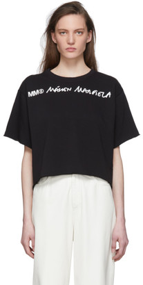 MM6 MAISON MARGIELA Black Wide Cropped T-Shirt