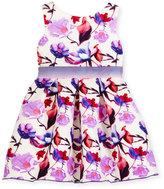 Zoë Ltd Sleeveless Floral Burnout Scuba Dress, Purple/White, Size 2-6