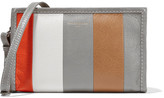 Balenciaga Bazar Striped Glossed Textured-leather Shoulder Bag - Gray