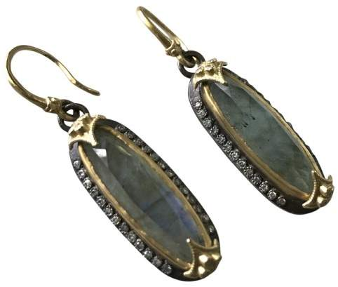 Armenta 18K Yellow Gold and Blackened Sterling Silver Labradorite & Diamond Earrings