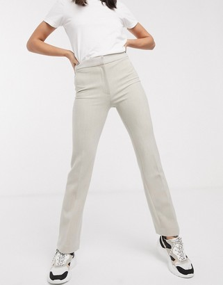 Weekday Chana high waisted tapered trousers in beige melange