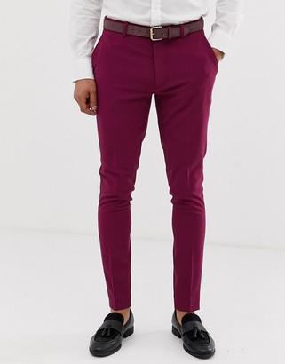 ASOS DESIGN super skinny smart trousers in magenta