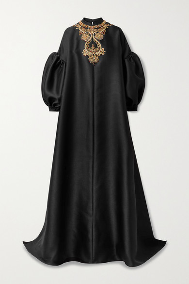 Thumbnail for your product : Reem Acra Embellished Pique Gown - Black
