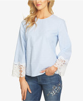 CeCe Lace-Cuff Dot Blouse