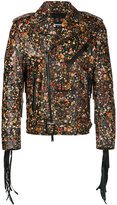 DSQUARED2 micro floral moto jacket - men - Cotton/Calf Leather/Polyester - 46