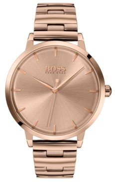 BOSS Women's Marina Rose Gold Ion-Plated Stainless Steel Bracelet Watch 36mm