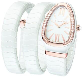 Bvlgari Rose Gold, White Ceramic and Diamond Serpenti Spiga Watch 35mm