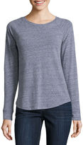 Liz Claiborne Long-Sleeve Slub Cotton Tee
