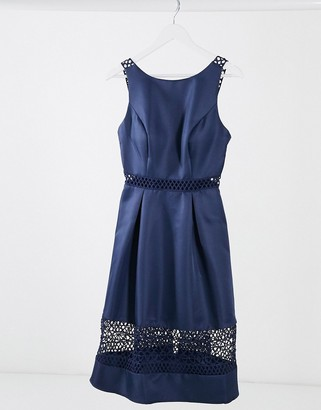 Chi Chi London cut out lace panelled midi dress in navy