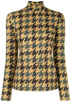 Rokh New Mask houndstooth print top