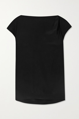 Brunello Cucinelli Bead-embellished Draped Silk-crepe Top - Black