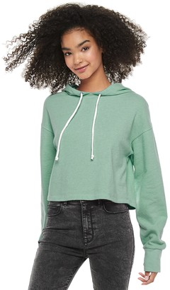So Juniors Long Sleeve Terry Cloth Cropped Hoodie