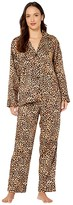 Lauren Ralph Lauren Petite Classic Sateen Long Sleeve Notch Collar Long Pants Pajama Set (Brown Print) Women's Pajama Sets