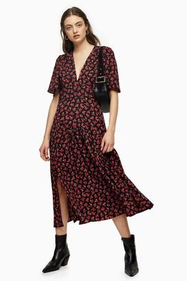 Topshop Red Floral Print Angel Sleeve Midi Dress