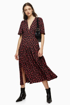 Topshop Womens Red Floral Print Angel Sleeve Midi Dress - Red