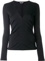 Tom Ford ruched V-neck top - women - Polyamide/Spandex/Elastane/Virgin Wool - 38